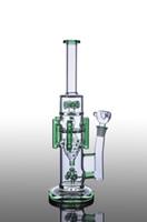 BIG Bongs en verre vert avec six bras percs tuyau d'eau à l'intérieur recycler dab rigs avec joint de 18 mm