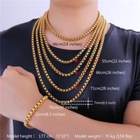 U7 7MM 5 tailles 18K plaqué or chaînes de boxe classique collier pour hommes / femmes bijoux de mode Bijoux parfaits accessoires cadeaux hommes GN2337