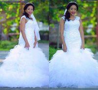2017 V шеи шнурка Country Style свадебное платье Складки Поезд Русалка Свадебные платья Белый выполненная на заказ