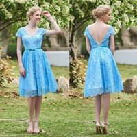Elegant Lace Light Sky Blue Backless A- Line Short Bridesmaid...