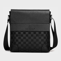 Men' s Fashion Messenger Bag Male PU Leather Briefcase C...