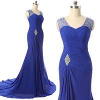 2017 Real Image Royal Blue Mermaid Evening Dresses Sheer Nec...