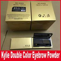 Золото Кайли Водонепроницаемая 2 двойной цвет макияж усиливающие бровей тени для бровей порошок палитра с щеткой Kylie двойной цветной порошок для бровей