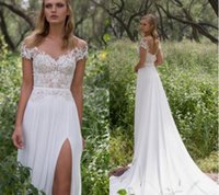2017 Limor Rosen rendas Beaded Beach Wedding Dresses Sheer Neck Sleeves Cap Chiffon vestidos nupciais A linha de vestidos de noiva alta Split