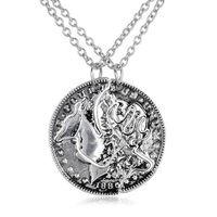 Collier de collier pour deux amis BBF cadeau d'amitié pendentif collier de puzzle de monnaie collier de cerf rétro pour hommes et femmes 5