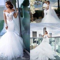 Illusion Bodice Mermaid Wedding Dresses Sexy Off Shoulder Ne...
