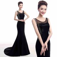 Elegant Beaded Black Evening Dresses Mermaid With Crystals S...