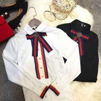As mulheres ocasionais do bowknot grande do bowknot da blusa do botão da pérola da luva das camisas do diamante t dos ladys do algodão 100%