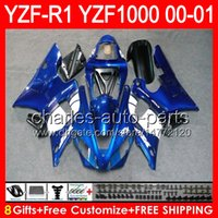 Hot Factory blue 8gifts Body For YAMAHA YZF R1 00 01 YZF1000...