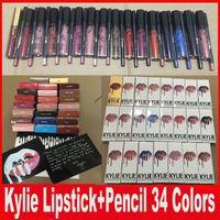 KYLIE JENNER LIP KIT с карандашом для губ Lipkit Velvetine Жидкая матовая губная помада в красном бархатном макияже Lip Gloss 34 цвета