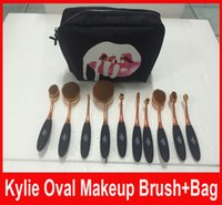 Kylie Makeup brush Rose Gold black Oval Toothbrush Brushes P...
