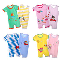 2pieces lot Summer Baby Clothes Short Sleeve Cotton Baby Rom...