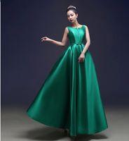 Bateau Neck Heavy Satin Evening Dress Long 2017 Elegant Form...