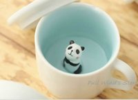 Wholesale- Mini cute panda ceramic cup Nice Wait Panda Cup C...