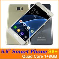 5,5 pouces Quad Core SC7731 1G 8 Go Android 5.1 Smart phone 5MP double caméra SIM 540 * 960 3G WCDMA débloqué S8 plus mobile gratuit avec cas
