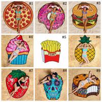 11 Designs Round Beach Towel Pizza Hamburger Crème Fraise Smiley Emoji Ananas Toile de douche à la pastèque Shawl 120pcs OOA1390