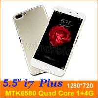 5,5 pouces i7 plus Quad Core Smartphone Android 5.1 MTK6580 1Go 4Go 1280 * 720 3G WCDMA Dual SIM téléphone cellulaire Unlcoked Gesture Téléphone mobile DHL
