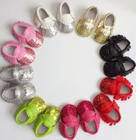 Baby Tassel First Walk Shoe Paillette Moccasins Soft Sole PU...
