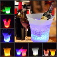 5L Waterproof Plastic LED Ice Bucket Color Changing Bars Nig...
