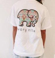 2017 Mulheres Verão Marfim Elefante Elefante Moda Animal Print T Shirt T-shirt Vestuário Tee Deslizamento Curto Malha Harajuku Casual Tops roupas