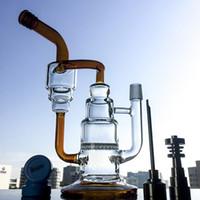 Nouveau 4 Set tubes en verre d'eau avec la forme de gâteau Amber noir 25cm de haut recycler Smoking Water Bong avec nid d'abeille Perc WP242