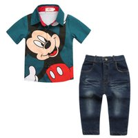 Boys Baby Mickey T- shirts+ Denim Jeans Suits Children Kids C...