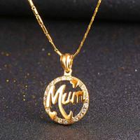 U7 Cadeau parfait pour la maman Pendentif Collier Trendy Or Plaqué Bijoux strass Mode Bijoux Pendentifs parfaits Cadeaux pour la Fête des Mères