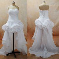 Милая Summer Beach Свадебные платья Привет-Lo Богемские Маленькие белые платья с атласной юбки из органзы Свадебные платья реальных изображений