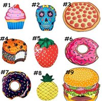 9 designs Round Beach Towel Blanket Yoga Towel Skull Pizza H...
