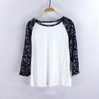 Wholesale Women Fashion Three Quarter Shirt Casual Floral T ...