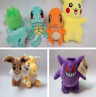 15-20cm Poke Brinquedos De Pelúcia Boneca Pikachu Bulbasaur Squirtle Charmander Bichos De Pelúcia Brinquedos Brinquedo Do Bolso Do Monstro Presente Do Boneco Da Boneca PPA631-1