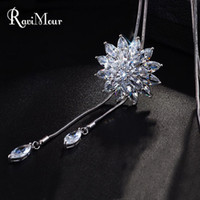 New Brand Zircon Long Necklace For Women Fashion Silver Crys...