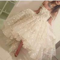 2017 год Привет-Lo Пром платья цвета слоновой кости Off халатов плеча Элегантный Кружева 3D-цветочные Аппликации Саудовская арабский вечер партии