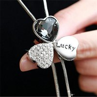Zircon Long Necklace for Women Fashion Silver Lucky Crystal ...
