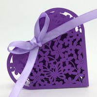 Wedding favors laser cutting heart shape floral favor box we...