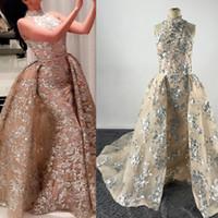 2017 BlingBling платья выпускного вечера высокого шеи серебристыми блёстками Appliqued Ню шампанского Вечерние платья с отделяемым Overskirt Real Pageant платья