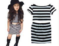 INS Verão Meninas Padrão Listrado Princesa Vestido Toddler Girl T-shirts Crianças Vestidos Crianças verão meninas listrado Conjunto de roupas