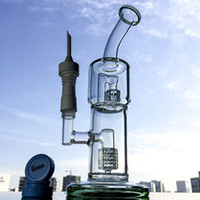 28cm Bongs en verre de hauteur Bent Neck tuyaux d'eau avec la céramique Capsules d'ongles sans clous Matrice stéréo Perc Fumoir pipe 18,8mm WP116-4