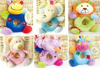 8pcs lot(mix 8 designs) Baby Hand Rattles colorful hand bell...