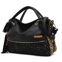 Мода женщин Leopard Sequin Paillette сумка сумка Tote PU H10146