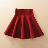 Spring Autumn High Waist Knitted Skirts Women Pleated mini U...
