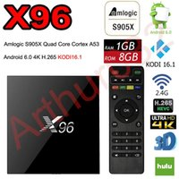 X96 Android TV 6.0 Amlogic S905X Quad Core Marshmallow Mini PC 1GB / 8GB H.265 WIFI 4K * 2K UHD HDMI 1080P Bluetooth Lecteur multimédia Kodi Smart