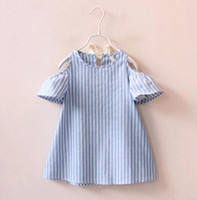 Sweet Kids Girls Doll Dresses Cute Summer Stripes Puff Sleev...