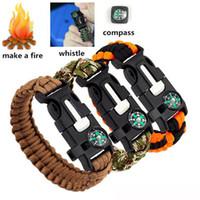 DHL expédition Bracelets de survie extérieure 5 en 1 kits de vitesse Escape Paracord Bracelet sifflet sifflet compas grattoir pour randonnée Camping