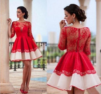 2017 New Sexy Red Arabic Half Sleeves Lace A Line Homecoming...