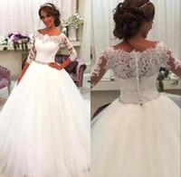 2017 год Vestios De Новия с длинным рукавом Онлайн Кнопка Стиль Свадебные платья арабский Дубай мантий Назад Кружева Аппликации Урожай Свадебные
