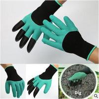 Садовые джинсовые перчатки с 4 когтями, встроенными в когти Простой способ садить рытье посадками Перчатки водонепроницаемые, устойчивые к шипам CCA5764 100pair