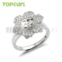 9RM105 Bijoux Teboer 3pcs / LOT Pearl Ring Mount Flower Ring Base 925 Sterling Silver Zircon Settings