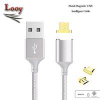 2017 Câble de chargement magnétique Câble de chargement Micro USB Nylon tressé Chargeur USB haute vitesse 3.3ft 1M pour Android Téléphone Samsung
