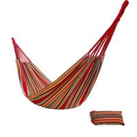 El color al aire libre de suspensión colgante de la cama de la lona del oscilación del nudo tejido durable de la hamaca de la cuerda del algodón de DHL raya el envío libre